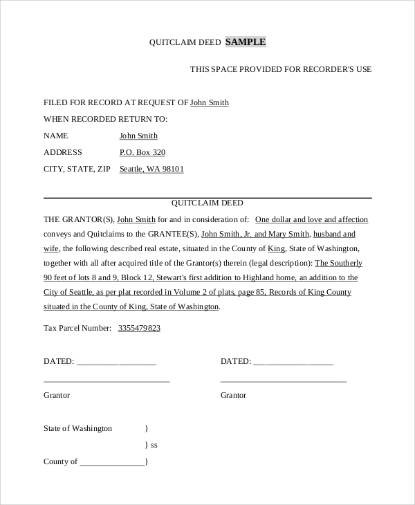 8+ Sample Quit Claim Deed Forms | Sample Templates