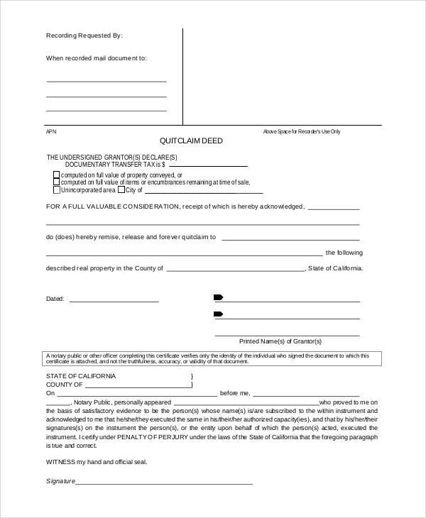 Sample Quit Claim Deed Form 8 Examples in PDF Word – Quick Claim Deed