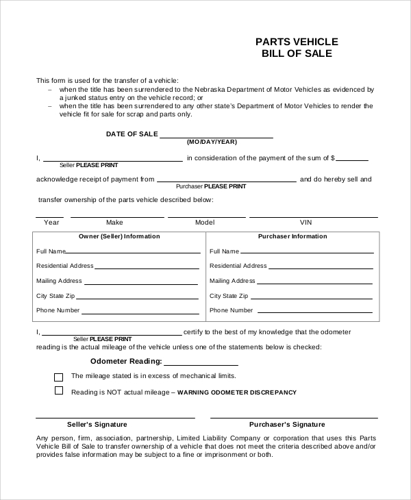 Parts Vehicle Bill Of Sale