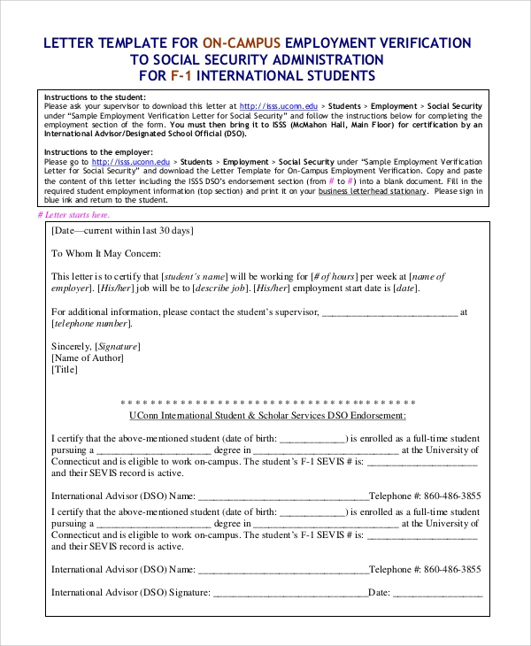 Sample On Campus Letter Of Employment Verification  Employment Verification Letter Template Word