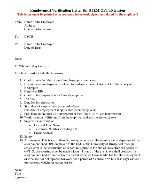 Sample Letter Of Employment Verification   Examples In Pdf Word