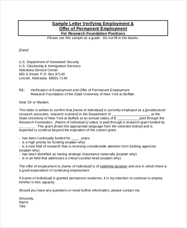 permanent employment verification letter