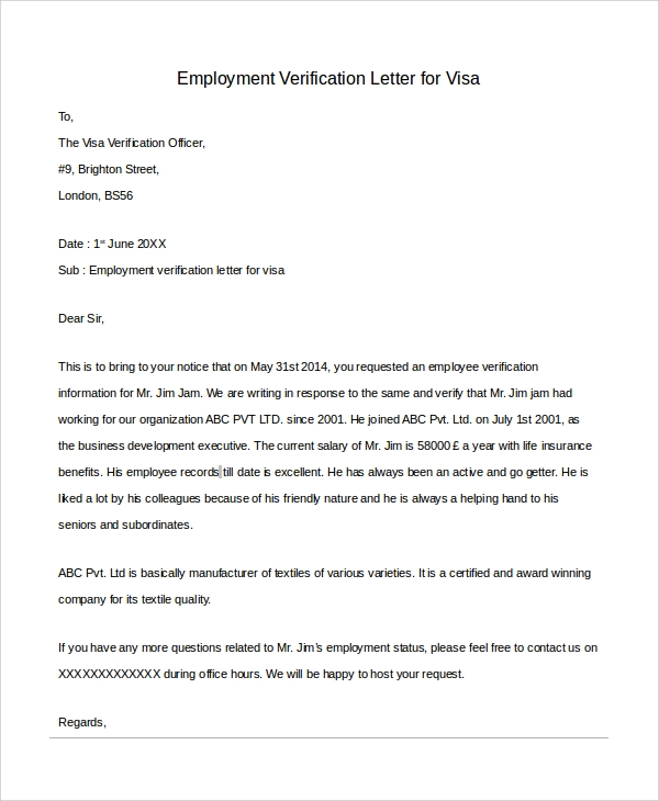 Sample Letter of Employment Verification 10 Examples in PDF Word – Job Verification Letter