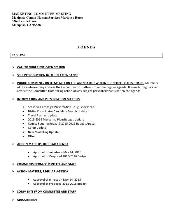 marketing committee meeting agenda sample