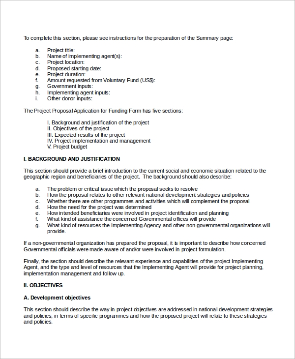 project proposal application