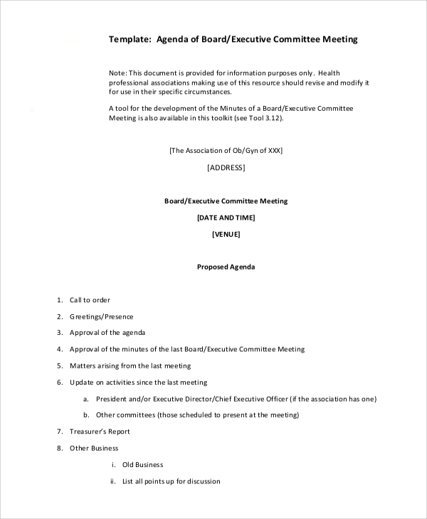 executive committee meeting agenda2