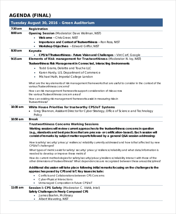 sample final agenda