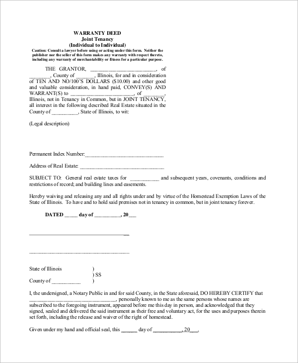 Sample Warranty Deed Form 10 Examples in Word PDF – Warranty Deed Form Template