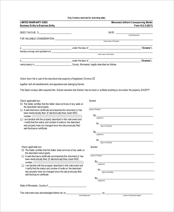 limited warranty deed form