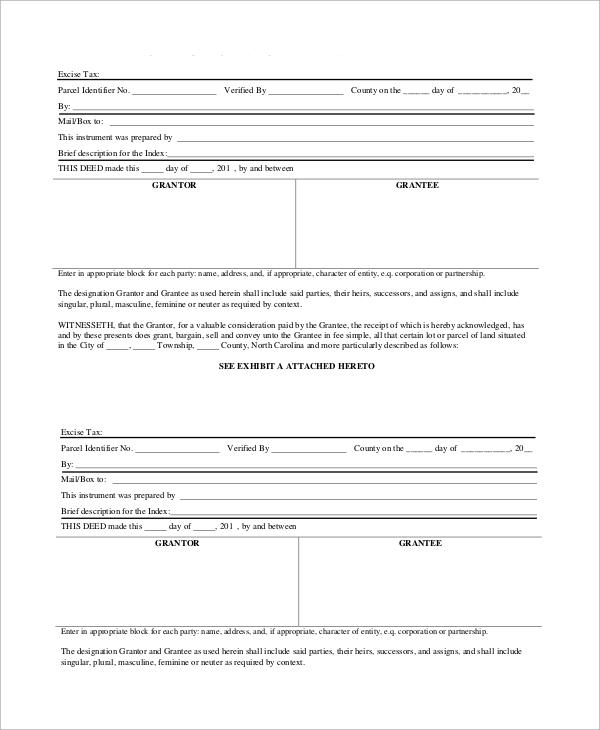 warranty deed form excise