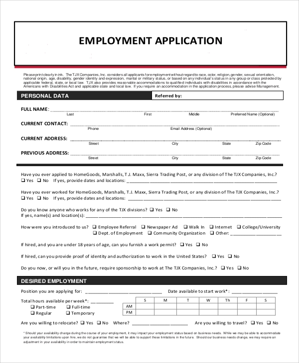 generic employment application pdf