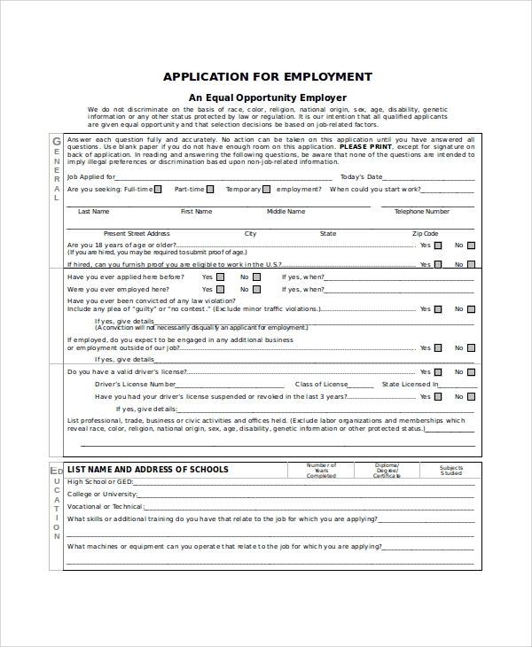 free 8  generic employment application samples in ms word