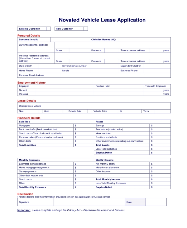 Sample Lease Application 11 Examples in Word PDF – Sample Lease Application