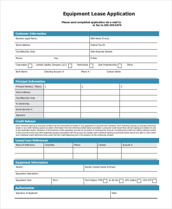 equipment lease application
