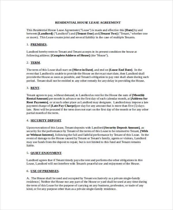 residential house lease application