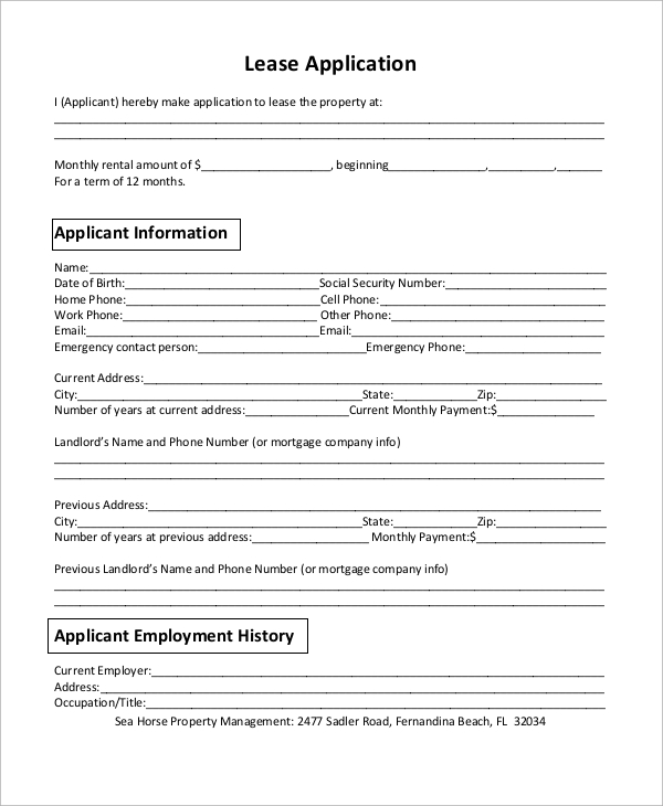 Sample Lease Application   Examples In Word Pdf