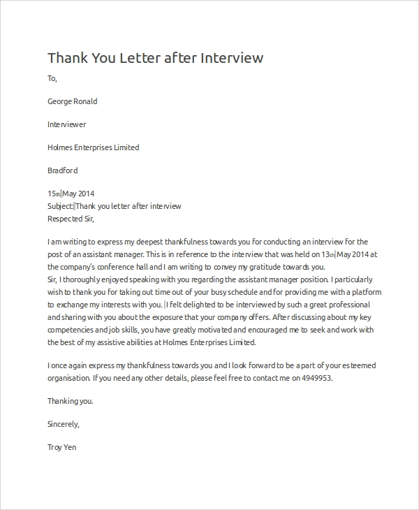 thank you letter after an interview sample