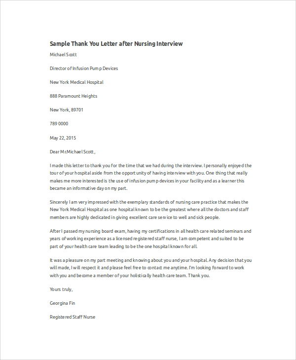 Sample Thank You Letter After An Interview For Nurses - Cover