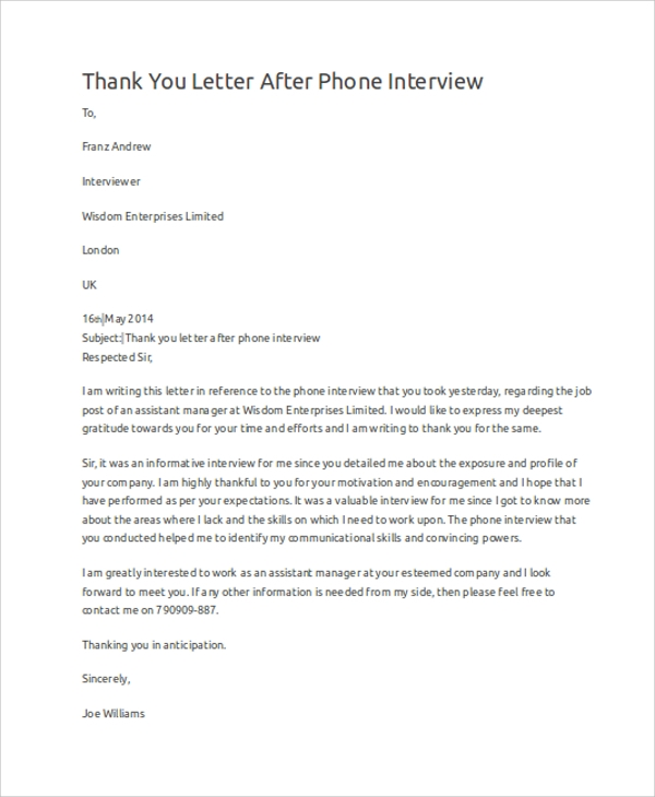 thank you letter after interview sample thank you letter 10 examples in word pdf 11582 | Thank You Letter After Phone Interview2
