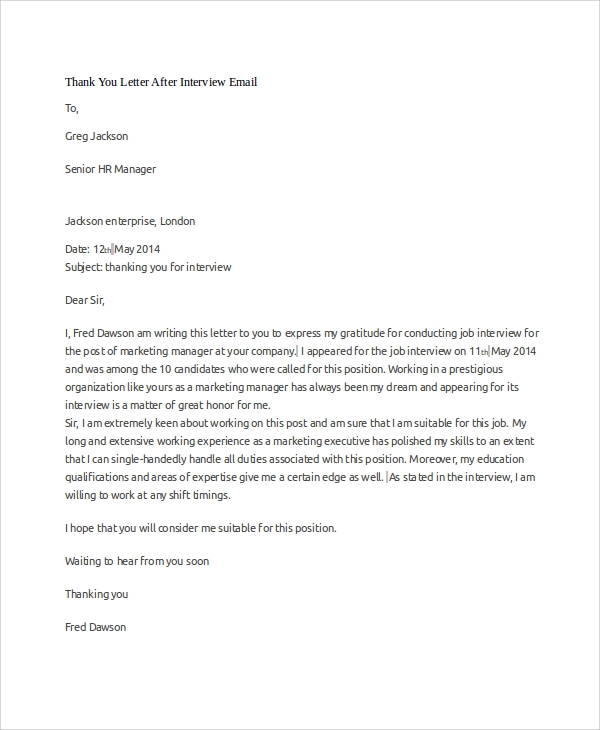 thank you letter after interview sample thank you letter 10 examples in word pdf 11582 | Thank You Letter After Interview Email1