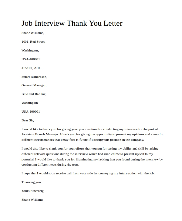 thank you letter interview sample