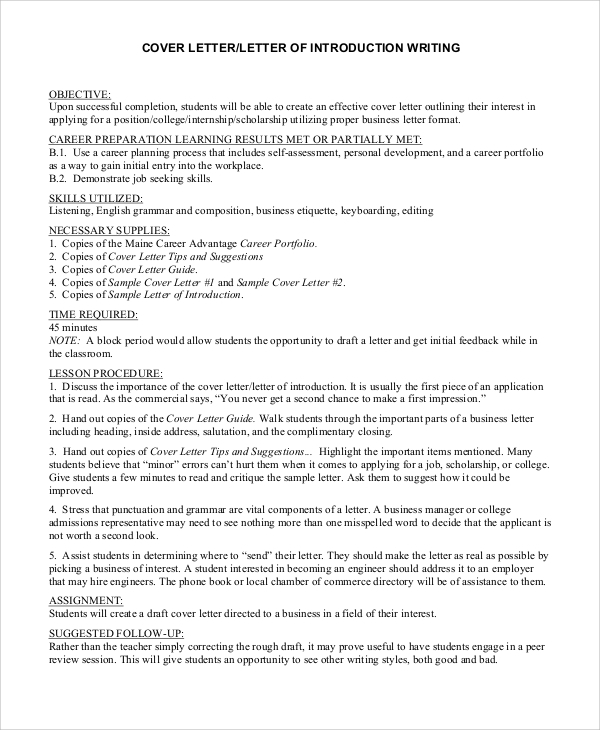 cover letter introduction sample gsebookbinderco - Job Letter Of Introduction