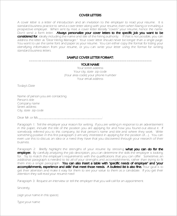 sample cover letter format introduction
