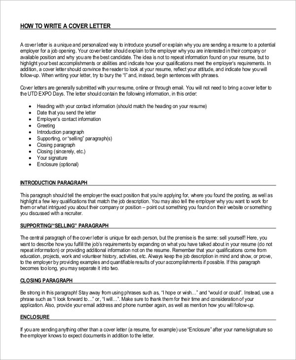 Cover letter opening paragraph for Cover letter for potential job opening