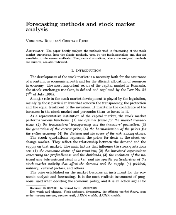 stock market analysis and forecasting methods