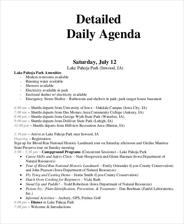 detailed daily agenda