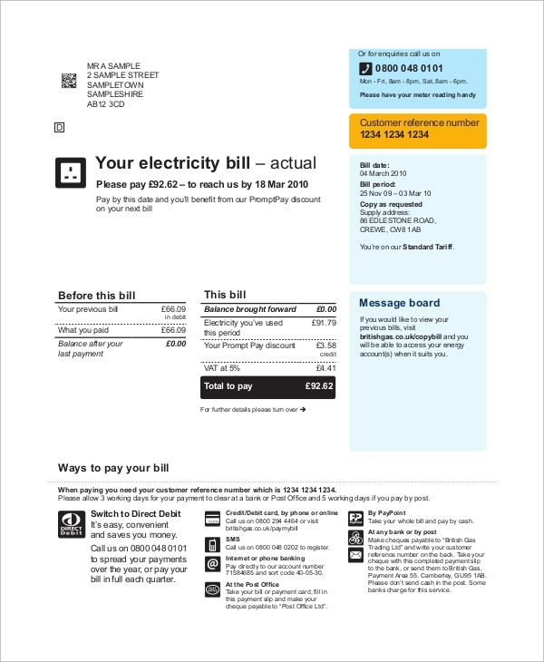 electricity bill payment receipt
