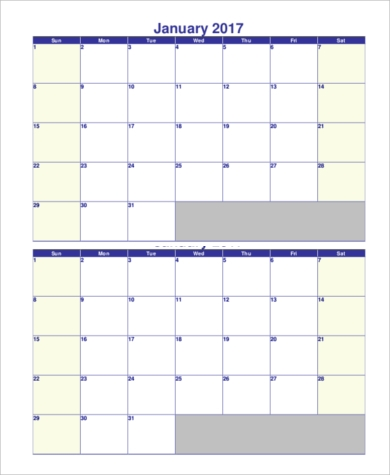 Sample Printable Monthly Calendar   Examples In Pdf Word