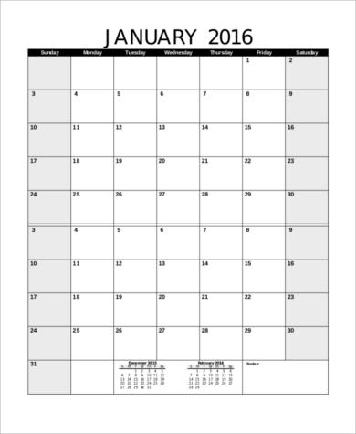 free blank yearly calendar