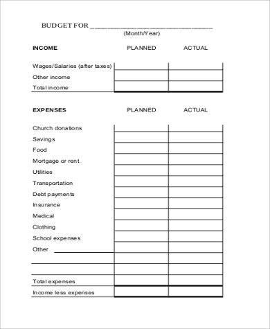 monthly planner budget sheet