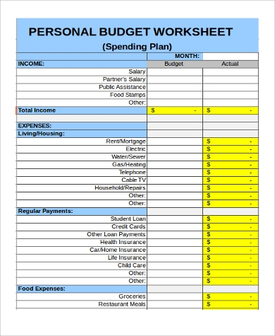 monthly personal budget sheet
