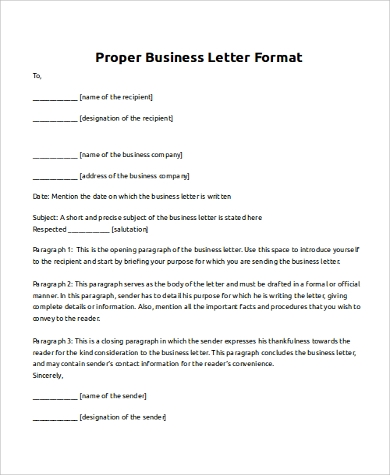 correct letter format 8 business letter samples pdf doc sample templates 20974 | Proper Business Letter Format