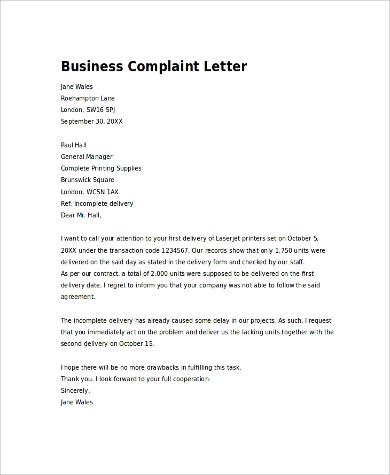 complaint letter sample for poor customer service