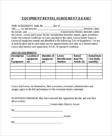 equipment rental application