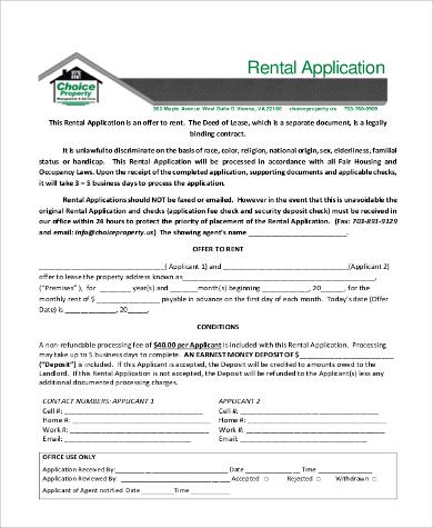 rental property application