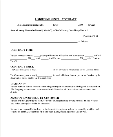Rent Contract Sample   Examples In Pdf Word