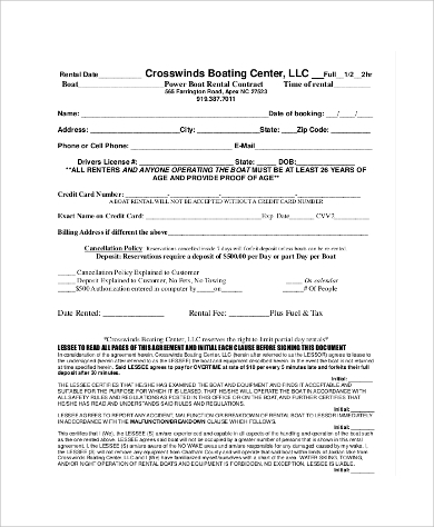 boat rental contract