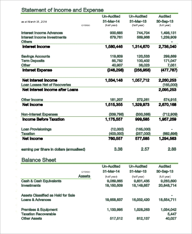 statement of interest income and expense