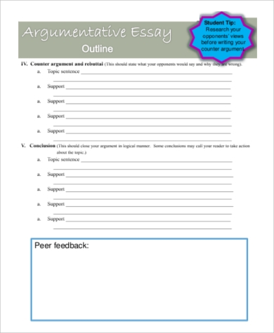 argumentative essay outline sample