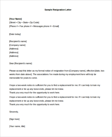 Sample Resignation Email   Examples In Pdf Word