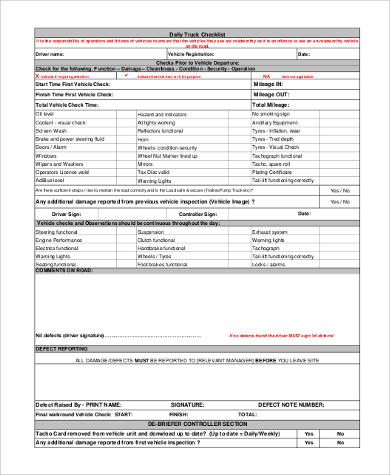 daily truck checklist