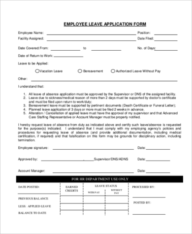 employee leave application form