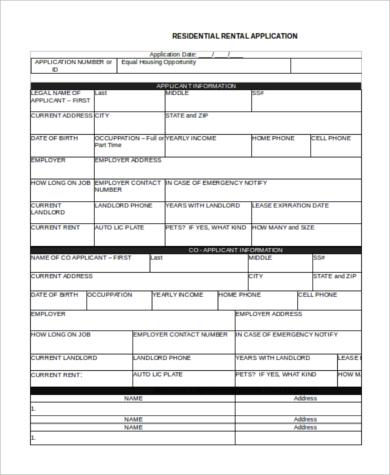 tenant rental application