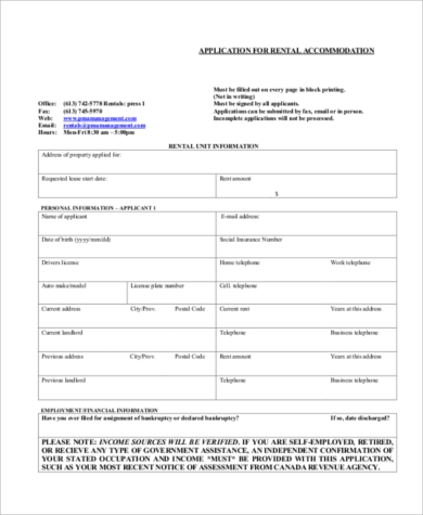 application for rental accommodation