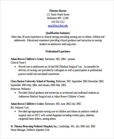 medical surgical nursing resume