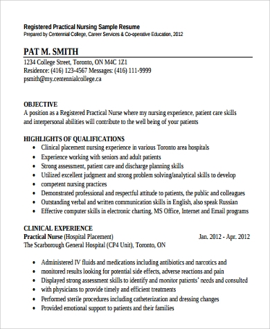 practical nursing resume